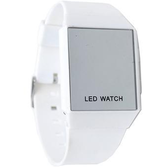 Ormano - Jam Tangan Pria - Putih - Strap Karet - LED Thin Square Mirror  Watch e44aa753b4