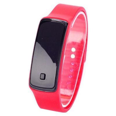 Ormano - Jam Tangan Unisex - Merah - Strap Karet - LED Gelang Black Frame Watch