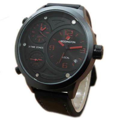 Reddington Triple Time RD0900 Jam Tangan Pria - Cokelat tua/List Merah