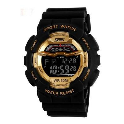 SKMEI - Jam Tangan Pria - Hitam Gold - Strap Rubber - Digital Skyline Watch