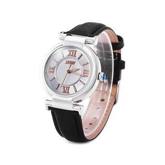 SKMEI Women's Black Leather Strap Watch 9075 (Intl)