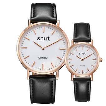 SNUT 1 Pair Men and Women Quartz Dial Clock Leather Wrist Couple Watch ( Golden)