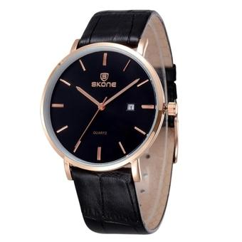 SUNSKY SKONE 5084 Men Fashion Rose Gold Case Ultra Thin Dial Calendar Quartz Movement Genuine Leather Wrist Watch(Black)