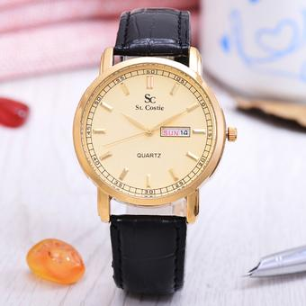 Saint Costie - Jam Tangan Pria - Body Gold - Gold Dial - Black Leather Band