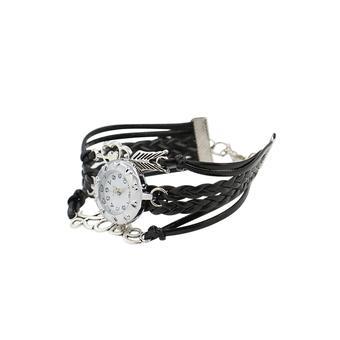 Sanwood Women Faux Leather Braided Bracelet Charm Quartz Wrist Watch Black