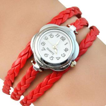 Sanwood Women's Flower Case 3 Layers Braided Wrist Watch Red (Intl)