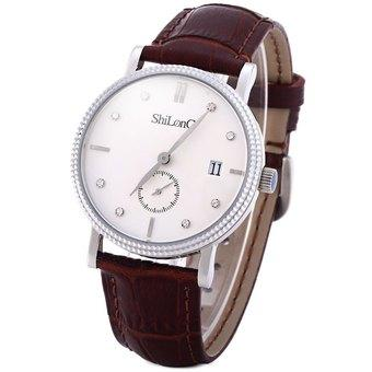 ShiLonG 8070G 50M Water Resistant Quartz Watch Stainless Steel Date Round Dial Japan Movt Genuine Leather