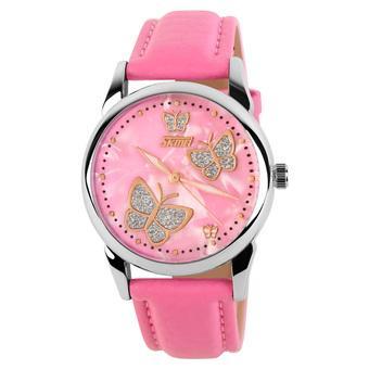 Skmei Female Fashion Waterproof Leather Strap Wrist Watch - Pink 9079