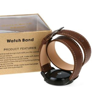 Small Size Long Genuine Leather Watchband Strap Double Tour Bracelet for Motorola Moto 360 2nd Generation