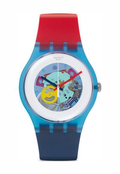 Swatch SUOS101 Color My Lacquered Jam Tangan Pria - Merah/Biru