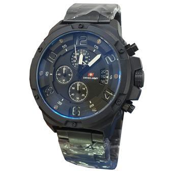 Swiss Army Chronograph - Jam Tangan Pria - Strap Stainless Steel - Hitam List Putih -