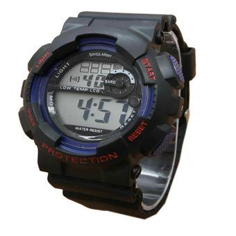 Swiss Army Digital Jam Tangan Pria - Hitam-Biru - Rubber Strap - SA625