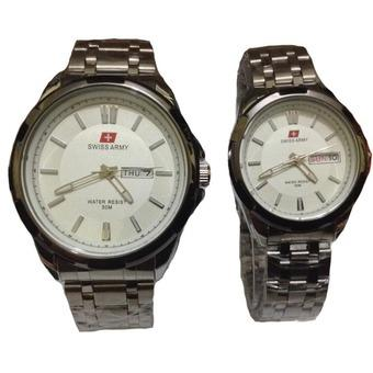 Swiss Army Jam Tangan Couple - Stainless Steel - Silver White - SA 1575 SW Couple