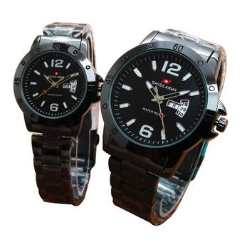 Swiss Army Jam Tangan Couple – Stainless Steel Strap - Black
