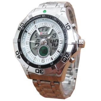 ... Strap Rantai Source · Swiss Army Jam Tangan Dual Time Pria Stainless Steel SA 881 Silver
