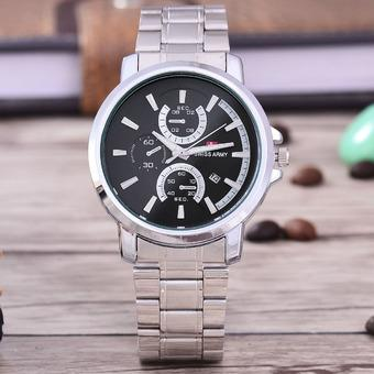 Swiss Army Jam Tangan Pria – Body Silver- Black Dial – Stainless Stell Band -