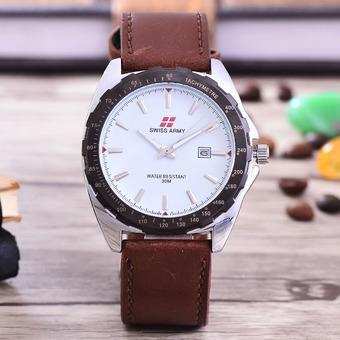 Swiss Army - Jam Tangan Pria – Body Silver – White Dial – Brow Leather Strap
