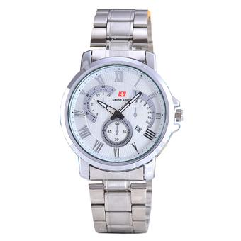Swiss Army - Jam Tangan Pria - Body Silver - White Dial - Stainless Steel Band