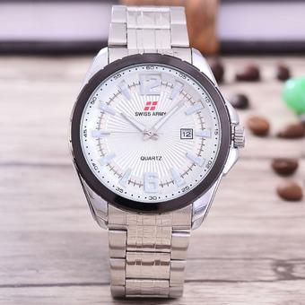 Swiss Army - Jam Tangan Pria – Body Silver – White Dial – Stainless steel band