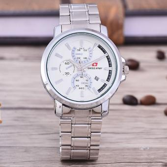 Swiss Army Jam Tangan Pria – Body Silver- White Dial – Stainless Stell Band -