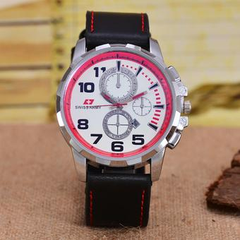 Swiss Army - Jam Tangan Pria – Body Silver – White/Red Dial – Black