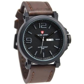 Swiss Army Jam Tangan Pria Coklat Tua Leather Strap SA 005M