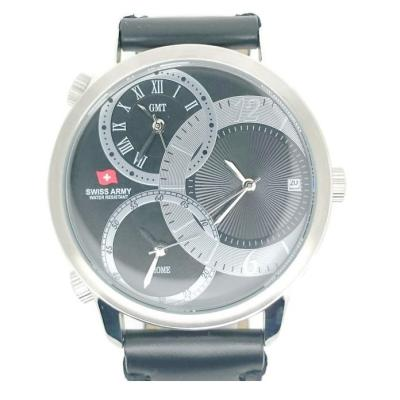 Swiss Army Jam Tangan Pria Hitam Silver Leather Strap SA 1165