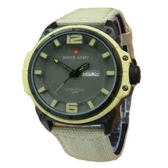 Swiss Army Jam Tangan Pria - Kuning - Strap Leather - SA 4072 Kuning