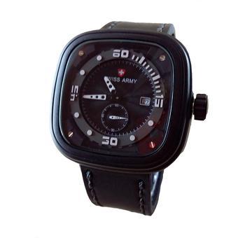 Swiss Army Jam Tangan Pria - Leather Strap - Black - SA 4096 BW