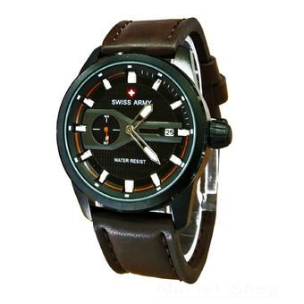Body RoseGold Black Dial Brown Leather . Source · Swiss Army Jam Tangan .