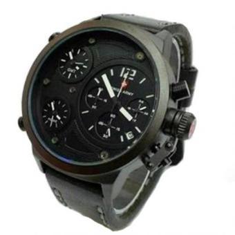 Swiss Army - Jam Tangan Pria - Leather Strap - SA 4010 Hitam Putih