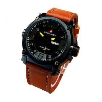 Swiss Army Jam Tangan Pria - Leather Strap - SA 4048LB Kuning