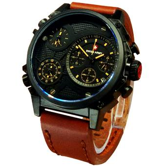 Swiss Army Jam Tangan Pria - Leather Strap - SA 8813LB Kuning