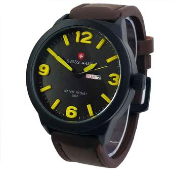 Biru Rubber Source · Swiss Army Jam Tangan Pria Leather Strap Sa 4055 .