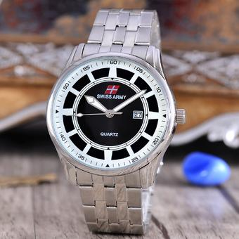 Swiss Army - Jam Tangan Pria - Silver - Black Dial - Stainless Steel Band -
