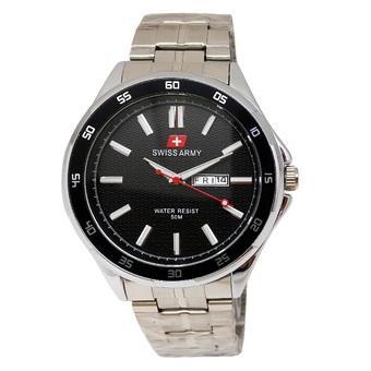 Swiss Army - Jam Tangan Pria - Stainless Silver - Dial Hitam - SA 5058 M