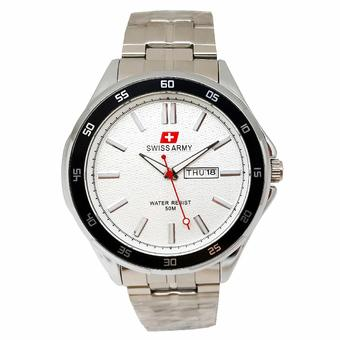 Swiss Army - Jam Tangan Pria - Stainless Silver - Dial Putih - SA 5058 M