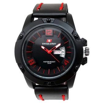 Swiss Army - Jam Tangan Pria - Strap Kulit - Hitam Merah - SA 0032 L