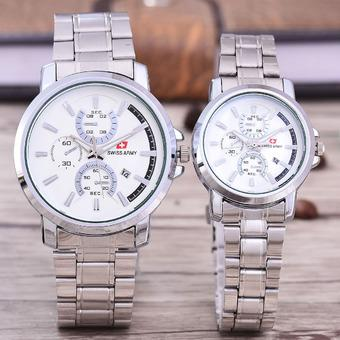 Swiss Army Jam Tangan Pria and Wanita – Body Silver- White Dial – Stainless Stell