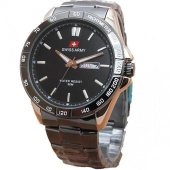 Swiss Army Men's Jam Tangan Pria - Silver - Stainless Steel Back - SA 5095 Gold