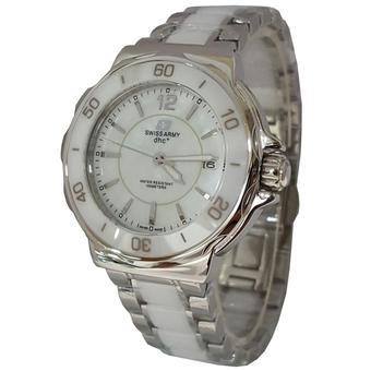 Swiss Army SA1152LT Jam Tangan Wanita Strap Ceramic Silver Putih