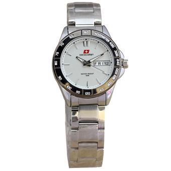 Swiss Army SA7916 Day Date Jam Tangan Wanita Stainless Steel - (Silver)