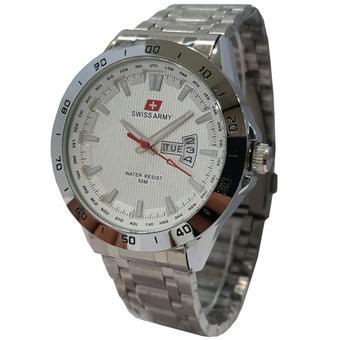 Swiss Army Tanggal Hari SA5071 Jam Tangan Pria Stainless Steel Silver