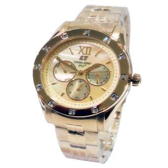 ... Swiss Army crhonograph Jam Tangan wanita Gold Strap stainless steel SA3283fg