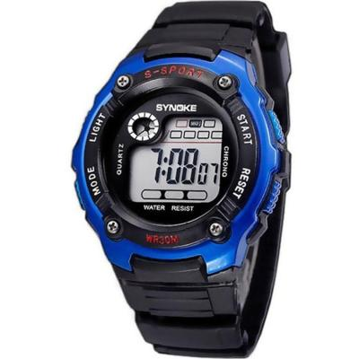 Synoke - Jam Tangan Pria - Hitam Biru - Rubber Strap - Digital SSport Outdoor Watch