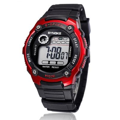 Synoke - Jam Tangan Pria - Hitam Merah - Rubber Strap - Digital SSport Outdoor Watch