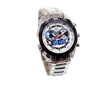 TVG Ventura 665 Jam Tangan Pria Dual Time Stainless Steel Silver