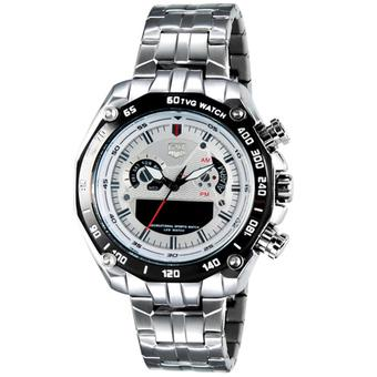 TVG Ventura Jam Tangan Pria - Dual Time - Strap Stainless - Silver Plat Putih