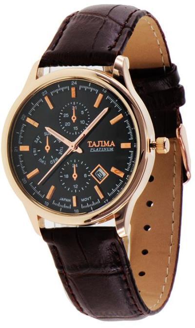 Tajima Analog Watch Date 3099 GA04 Date - Jam Tangan Pria - Black Brown - Leather
