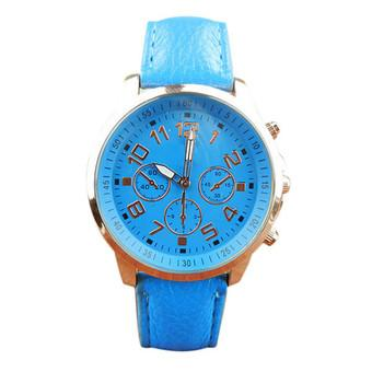 Unisex Leather Band Analog Quartz Vogue Wrist Watch Watches (Light Blue)